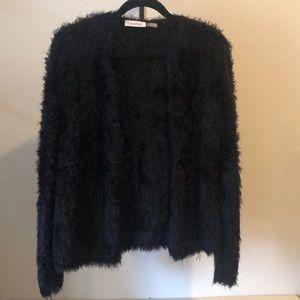 Calvin Klein shag black short cardigan